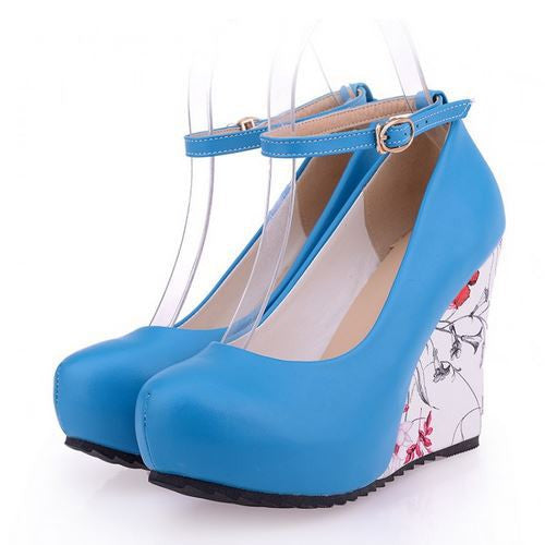 Women's Ankle Strap Casual Flower Pump Wedges - Bestshopup