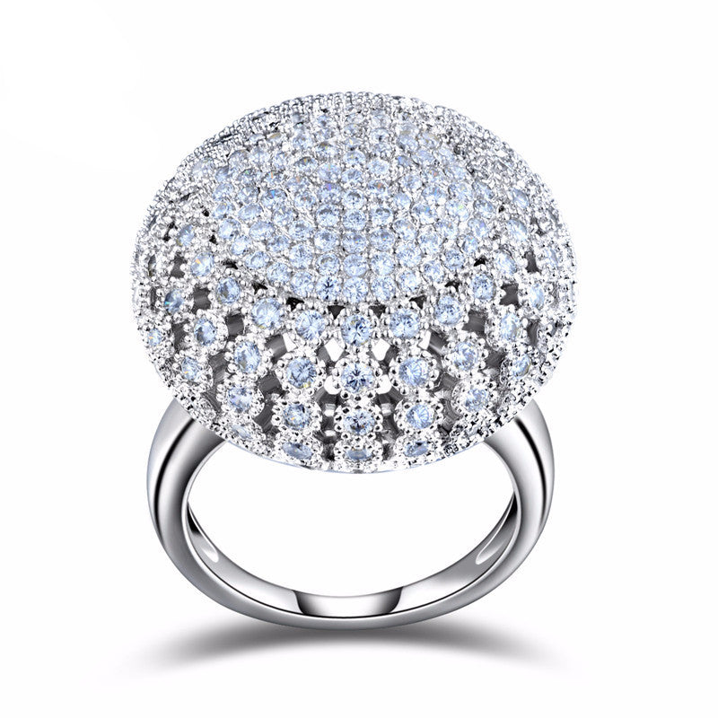 Women's Charming Platinum Plated 2MM Zircon Full Paved Round Shaped Vintage Ring - Bestshopup