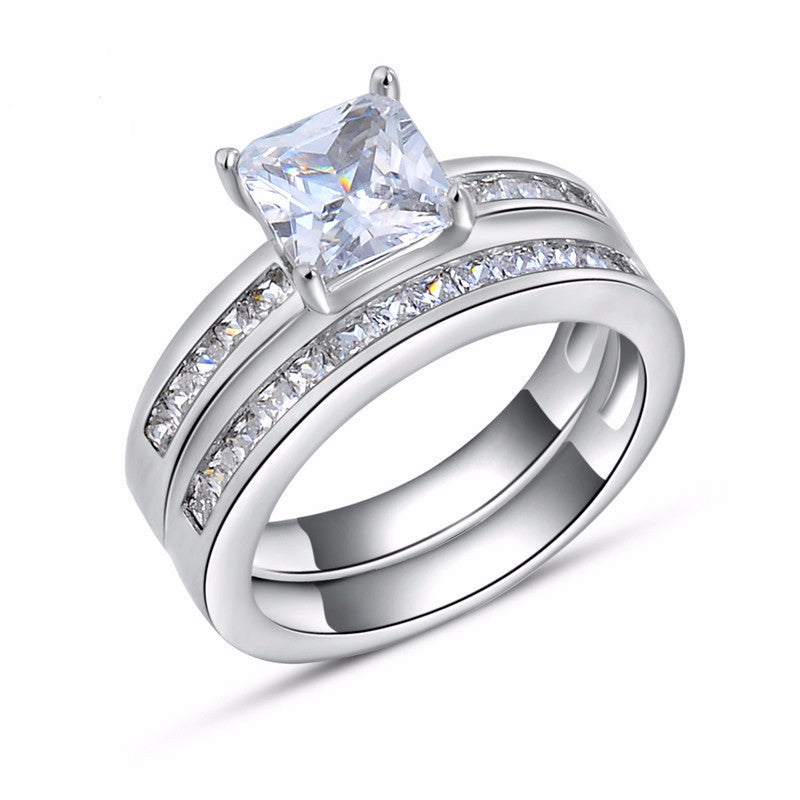 Women's Luxury Square CZ Platinum Plated Silver Wedding Ring Set - Bestshopup