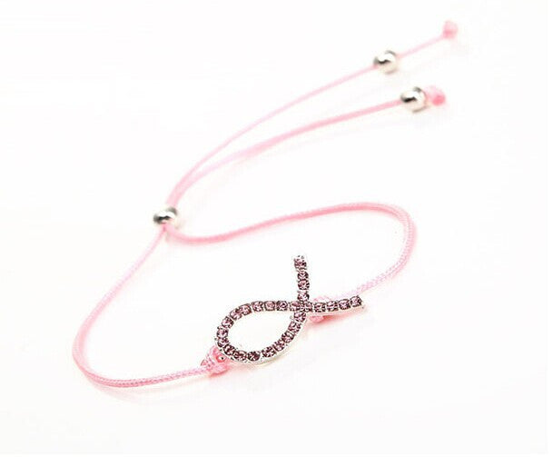 Crystal Pink Cord Adjustable Awareness Ribbon Bracelet - Bestshopup