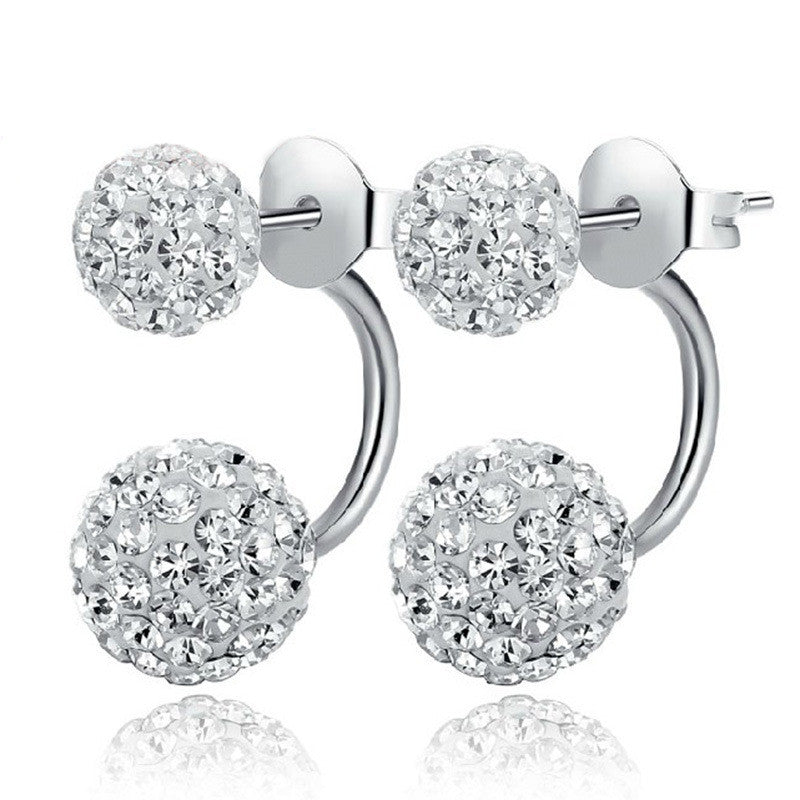 Women's Sterling Silver Double Ball Rhinestone Crystal Stud Earrings - Bestshopup