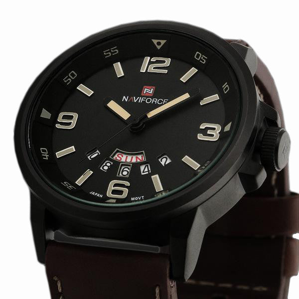 Men's Sports Quartz Hour Date Leather Strap Wrist Watch - Bestshopup