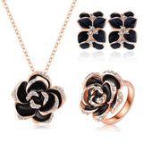 Women's Rose Gold Plated Austrian Crystal Enamel Earring, Necklace & Ring Flower Set - Bestshopup
