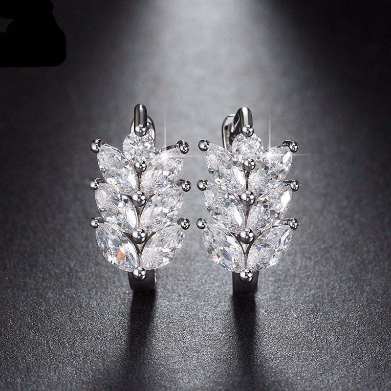 Women's Leaf Style Marquise Cut AAA Austrian Clear Zircon Earrings - Bestshopup