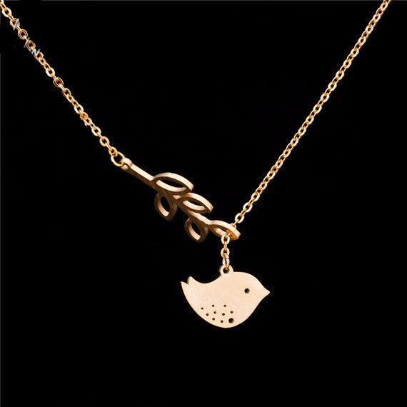 Women's Plated Leaf And Bird Lariat Necklaces - Bestshopup
