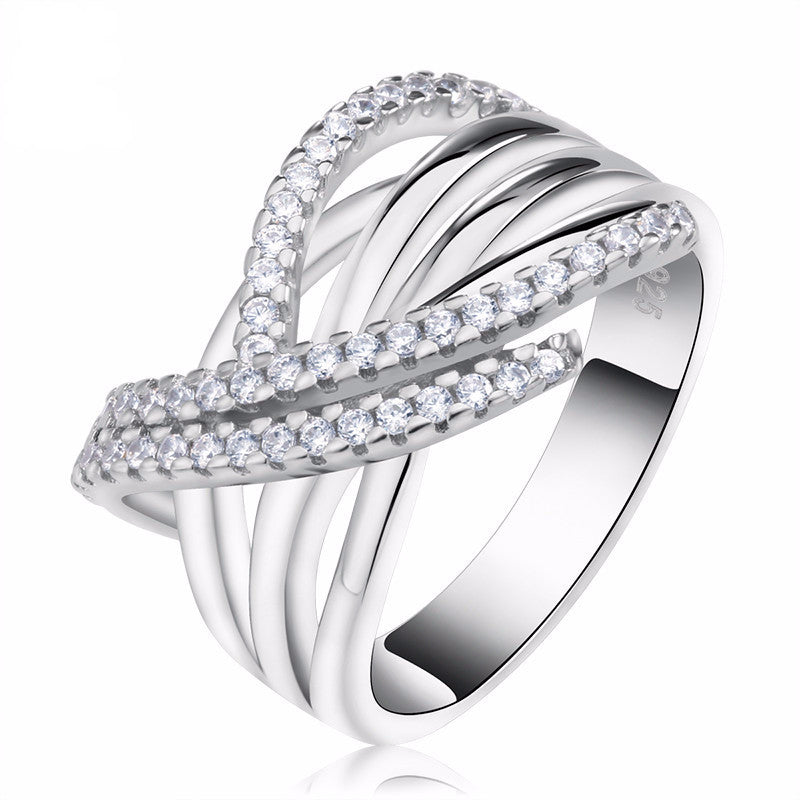 Women's Luxury Ring with 48 Pieces AAA Cubic Zirconia Unique Cross Design - Bestshopup