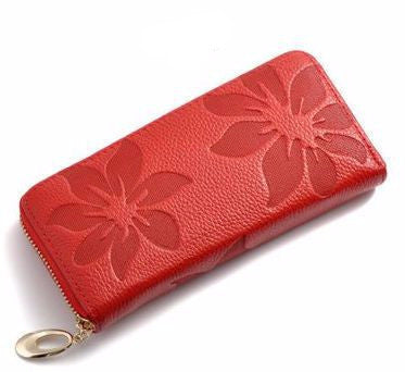 Women's Genuine Leather Floral Large Zipper Wallet - Bestshopup