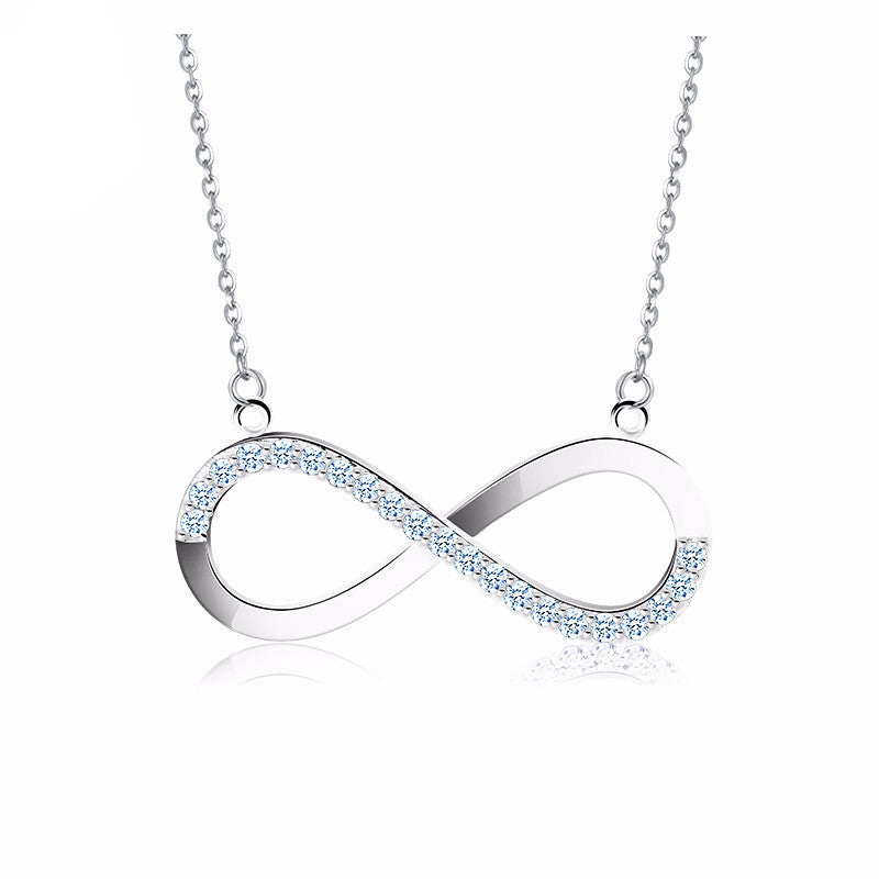 Women's Brilliant Austrian CZ Infinity Pendant Silver Plated Necklace - Bestshopup