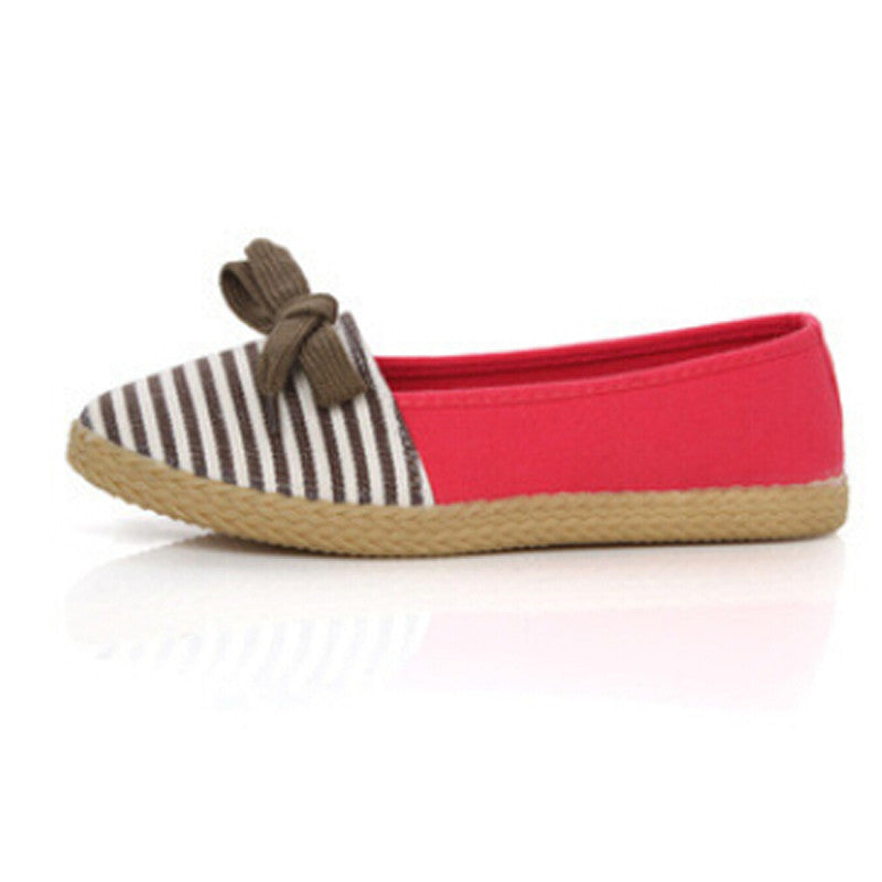 Women's Casual Cute Style Striped Beach Slip On Flats - Bestshopup