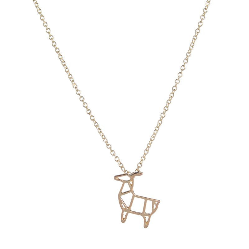 Women's Punk Vintage Origami Deer Pendant Necklaces - Bestshopup