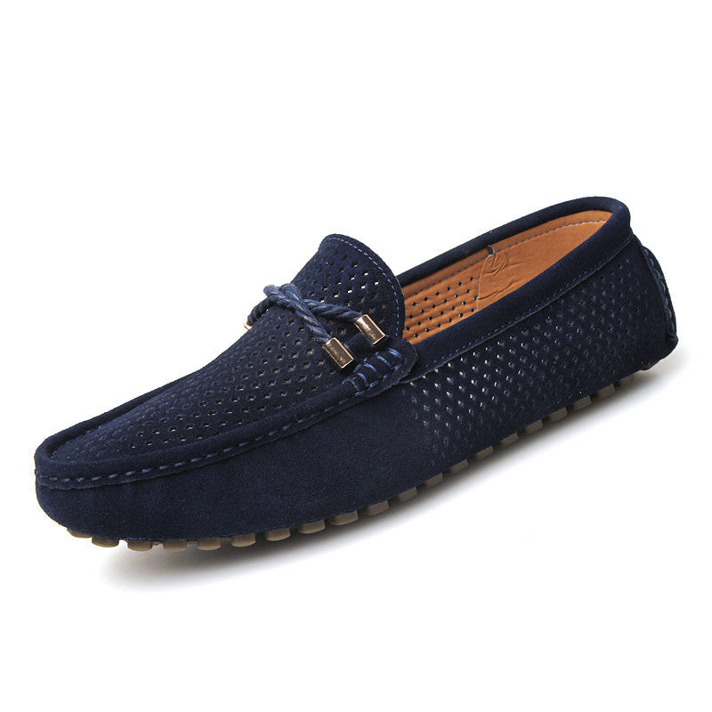 Men's Slip On Casual Suede Leather Hollow Out Breathable  Loafers - Bestshopup