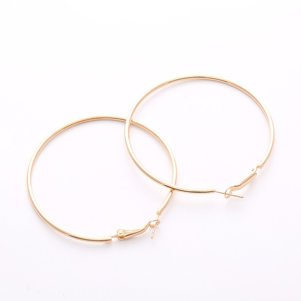 Women's Big Smooth Circle Hoop Earrings - Bestshopup