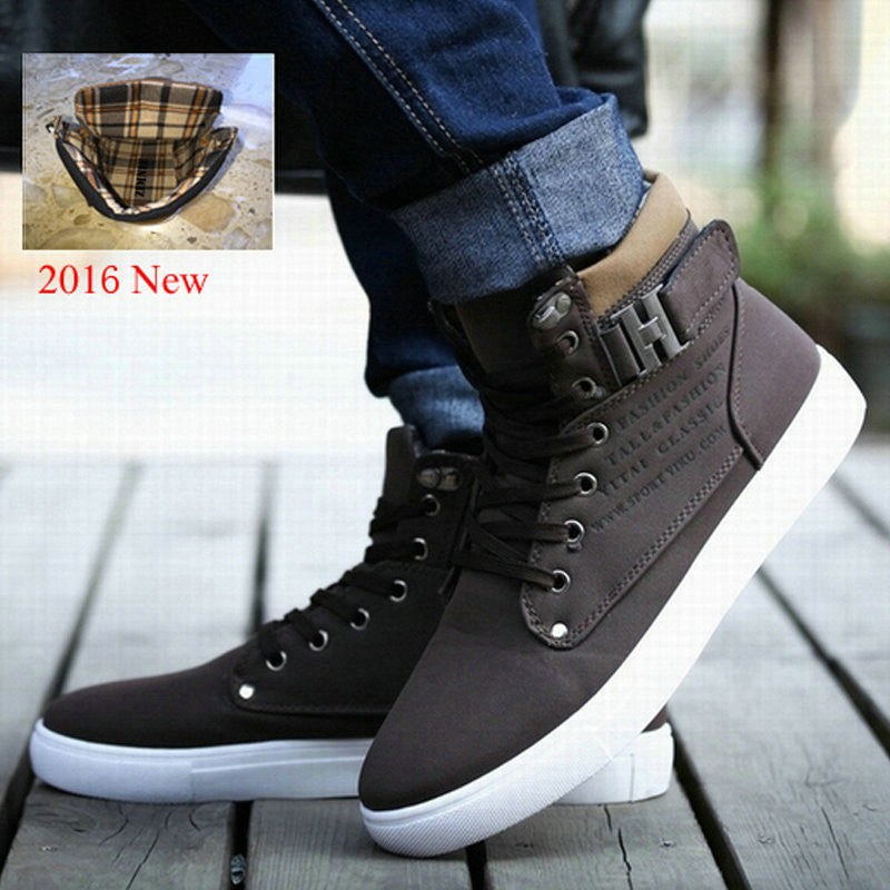 Men's Leather Fur Boots Casual High Top Canvas Boots - Bestshopup
