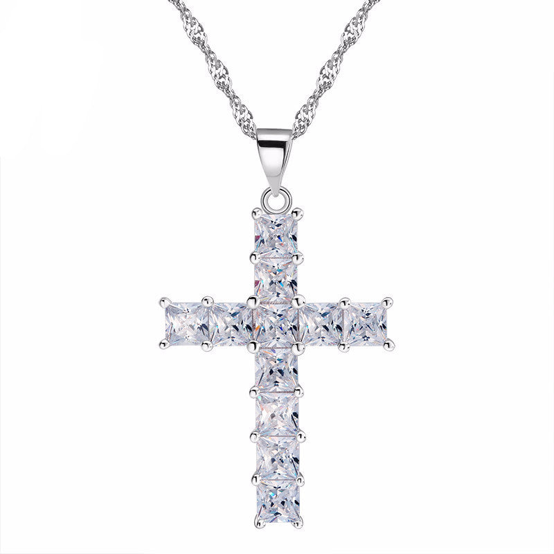 Women's Luxury Cross Princess Cut Cubic Zirconia Necklace - Bestshopup