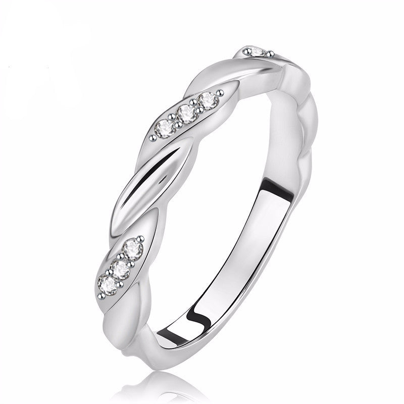 Women's Platinum Plated Silver Engagement Ring with Prong Setting Cubic Zirconia - Bestshopup