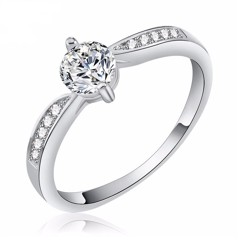 Women's Wedding  Austria Crystal Silver Layer Platinum Plated Ring - Bestshopup