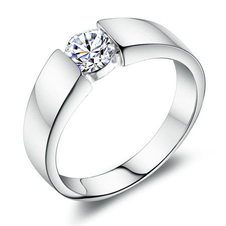 Women's Model with Clear AAA Grade CZ and 3 Layer Platinum Plated Ring - Bestshopup