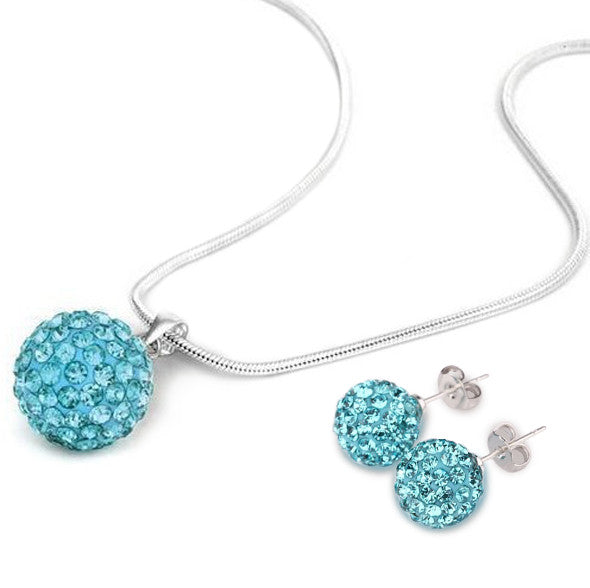 Women's Shamballa Skyblue Crystal Jewelry Set - Bestshopup