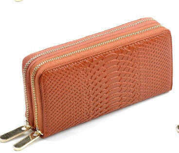 Women's Crocodile Double Zipper Wallet - Bestshopup