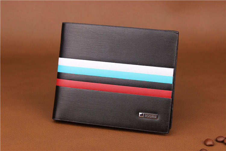 Men's Striped Luxury Genuine Leather Slim Short Wallet - Bestshopup