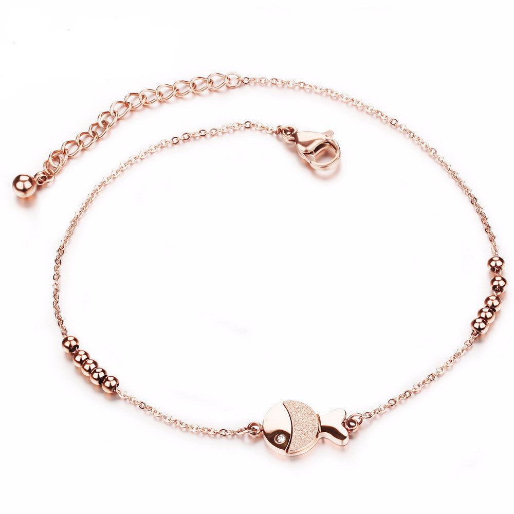 Women's Rose Gold Plated Full Steel Anklet - Bestshopup