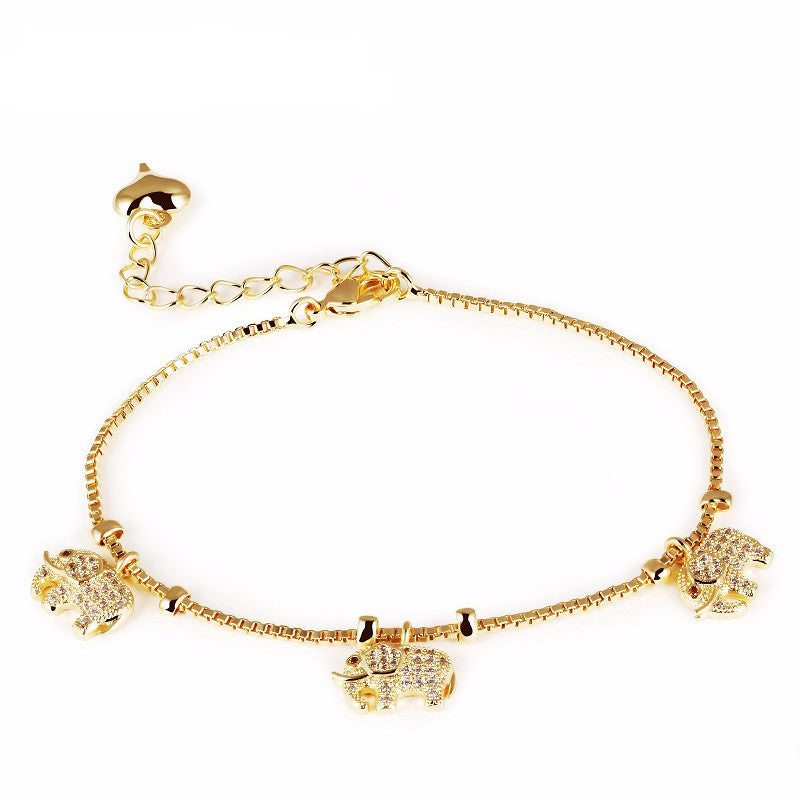 Women's 18K Gold Plated Fine Zircon Little Elephant Bracelet - Bestshopup