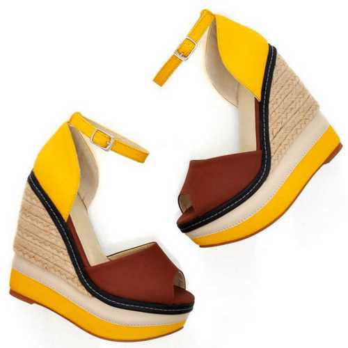 Women's Sexy Open Toe Weave Patch Color Wedges - Bestshopup