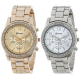 Women's Silver and Gold Plated Classic Round Watches - Bestshopup