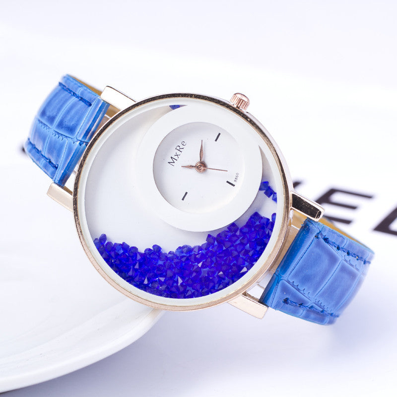 Women's Pu Leather Crystal Dial Casual Quartz Watch - Bestshopup