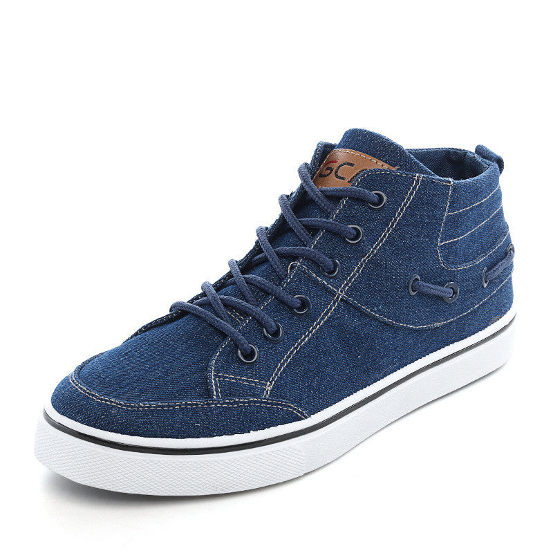 Men's Casual High Top Canvas Comfortable Washing Denim Shoes Lace-Up Shoes - Bestshopup
