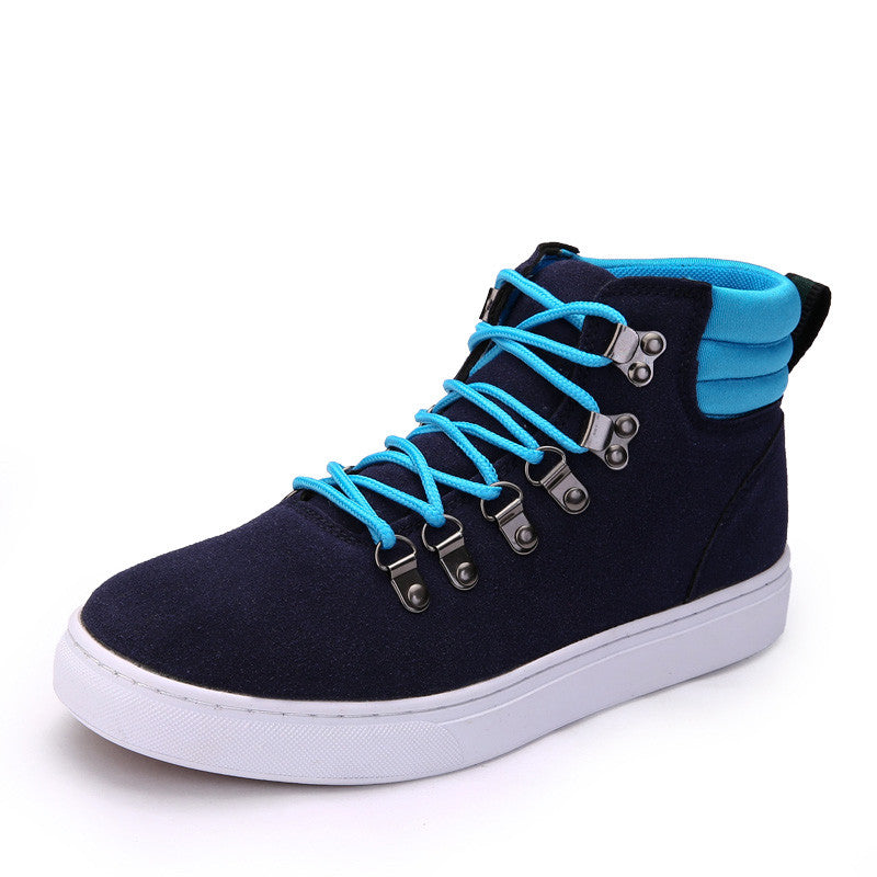 Men's Leather Fur Casual High Top Canvas Boots - Bestshopup