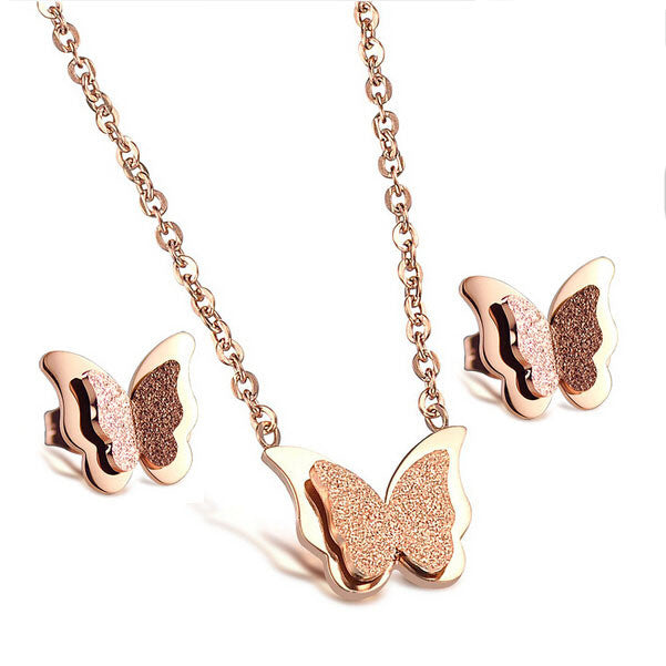 Women's Romantic Butterfly Rose Gold Plated Stainless Steel Necklace & Earrings Set - Bestshopup
