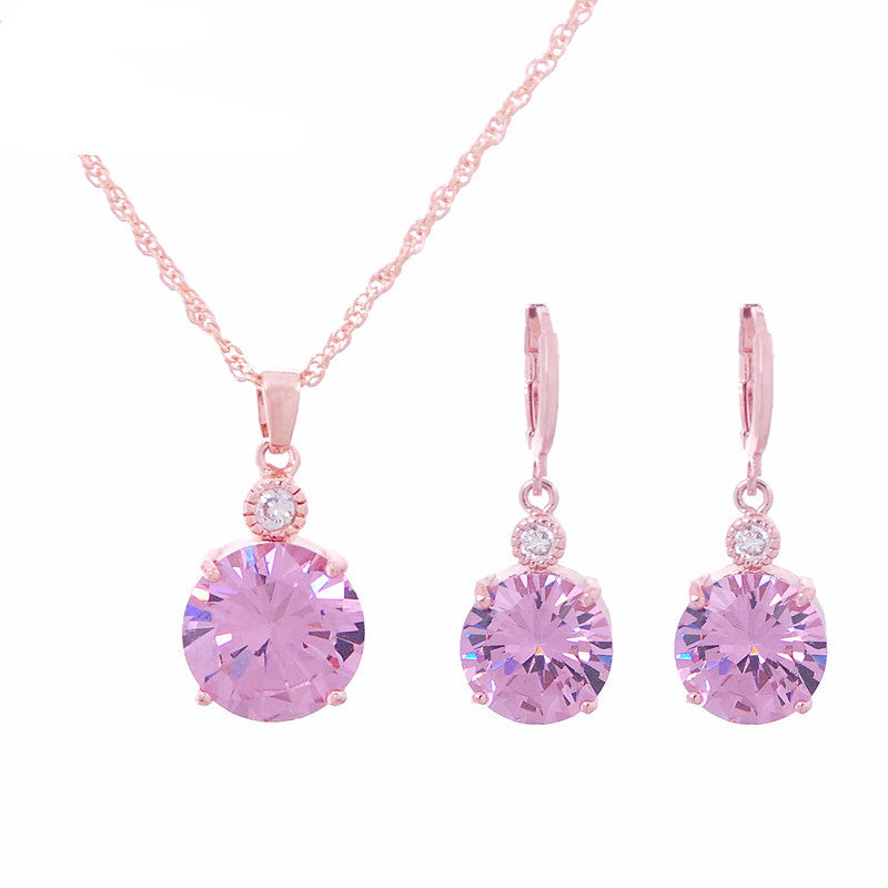 Women's Crystal Drop Gold Plated Round CZ Diamond Ruby Necklace & Earrings Set - Bestshopup