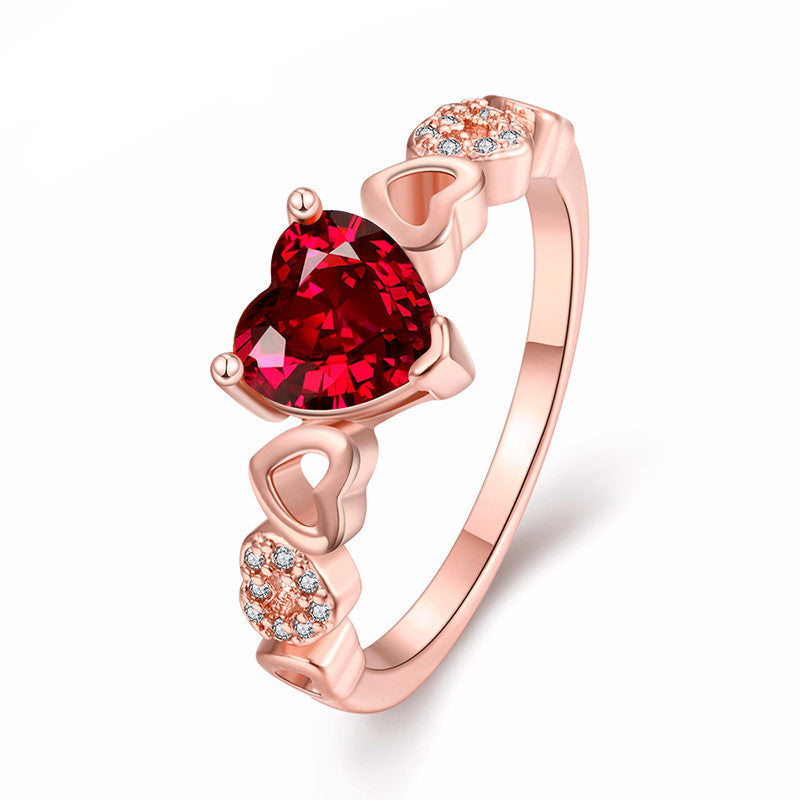 Women's Romantic Red CZ Diamond Gold Ruby Heart Ring - Bestshopup