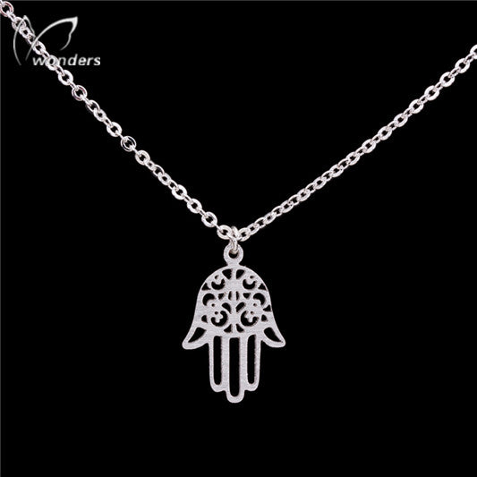 Women's Silver Hamsa Stainless Steel Plated Necklace - Bestshopup