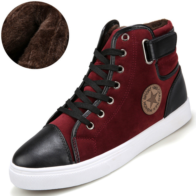 Men's Casual Black PU Leather High Top Boots - Bestshopup
