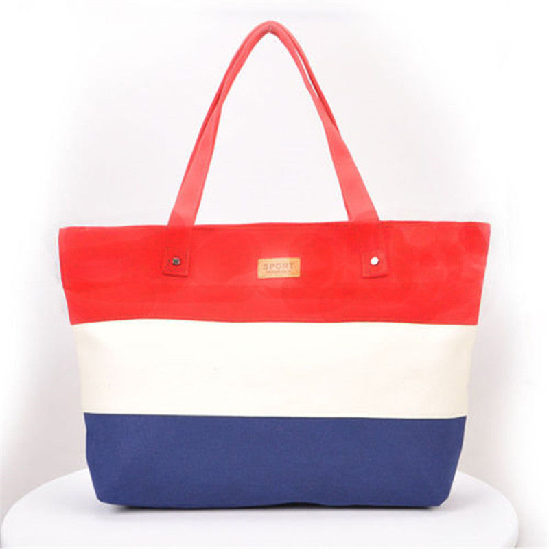 Women's Stripes Canvas Shoulder Messenger Tote Bag - Bestshopup