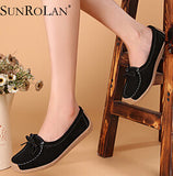 Women's Genuine Leather Small Bow Slip On Flats - Bestshopup