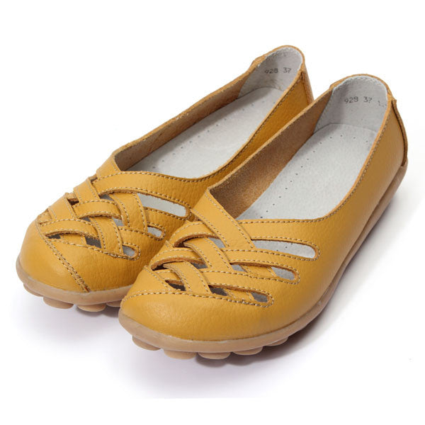 Women's Leather Hollow Out Flat Shoes - Bestshopup