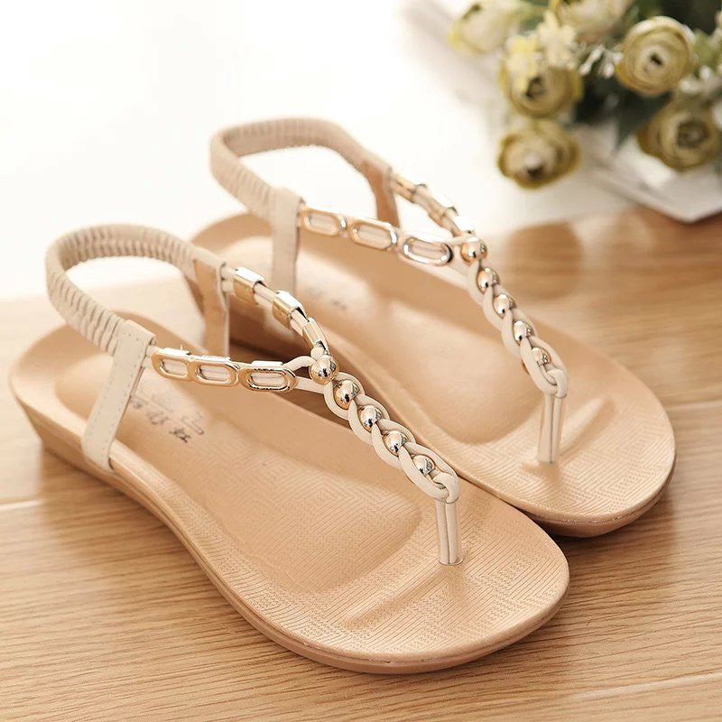 Women's String Bead Flat Sandals - Bestshopup
