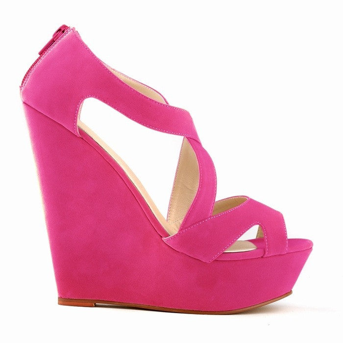 Women's Peep Toe Cross Lacing Wedges - Bestshopup