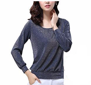 Women's O-Neck Casual Stretch Rayon Long Sleeve Shirt - Bestshopup