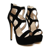Women's Thin High Heel Gladiator Platforms - Bestshopup