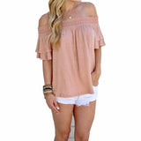 Women's Cute Summer Slash Neck Ruffles Sleeve Loose Casual Tops - Bestshopup