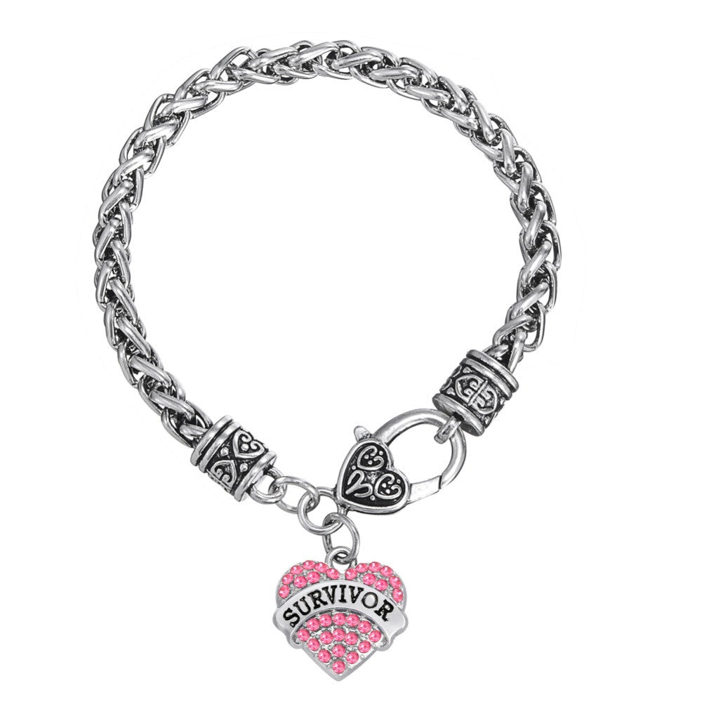 Breast Cancer Awareness Crystal Heart Survivor Bracelet - Bestshopup