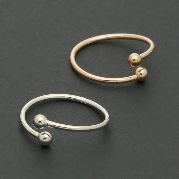Women's Plated Open Double Balls Rings - Bestshopup