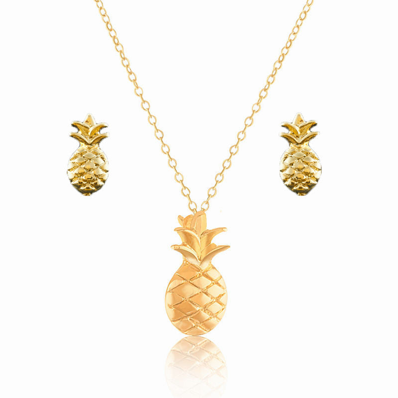 Women's Plated Pineapple Tattoo Choker Necklace & Earrings Set - Bestshopup