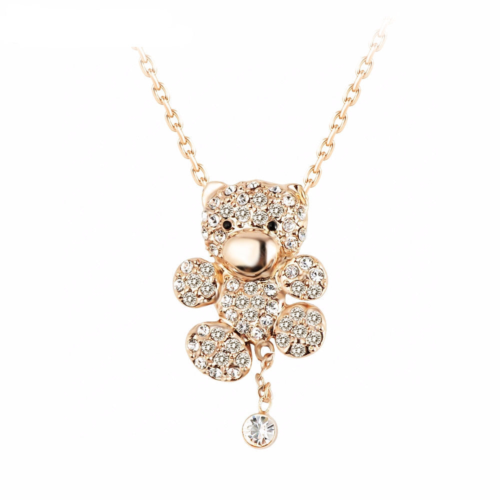 Women's Austrian Crystal 18K  Gold Plated Genuine Bear Necklace - Bestshopup