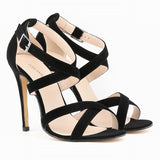 Women's Faux Velvet Open Toe Ankle Straps High Heels - Bestshopup