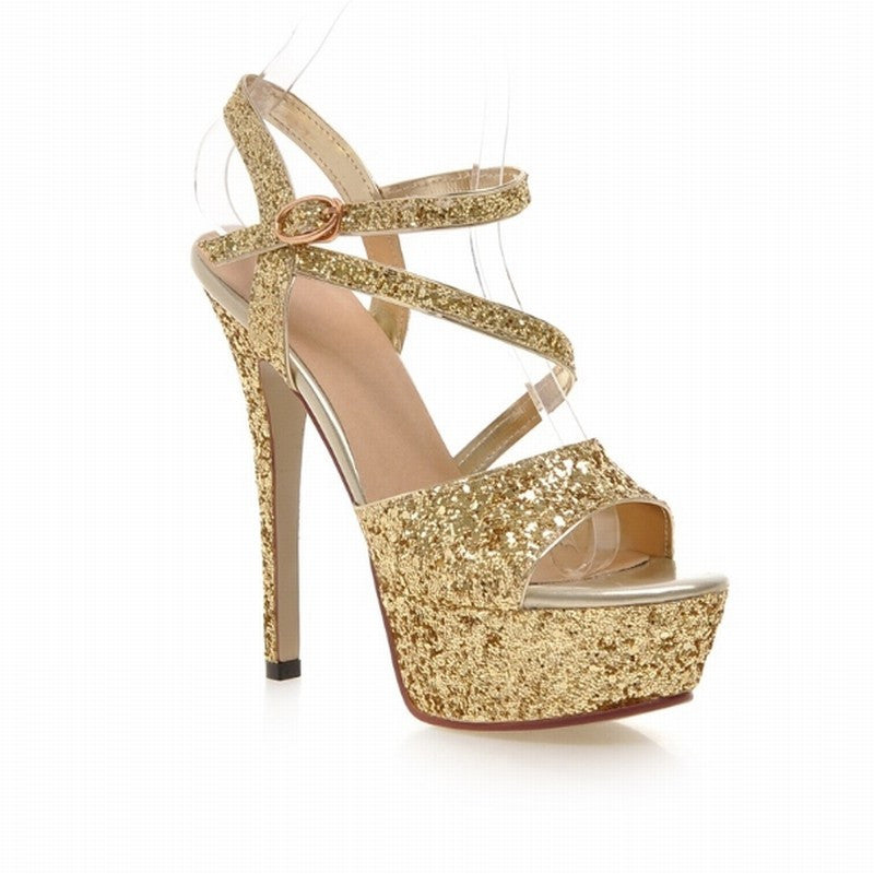 Women Gladiator Sandals Sexy Party Shoes Ankle Strap Sandals Glitter High Heels Shoes - Bestshopup
